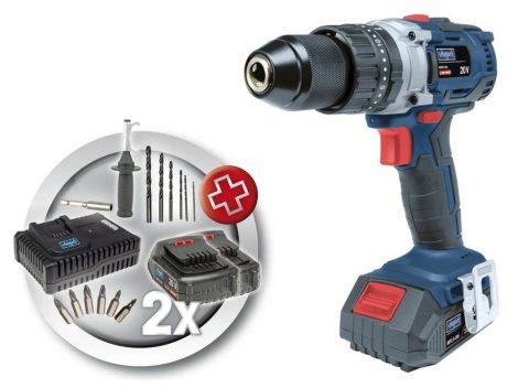 Akkumulátoros 2-sebességes, szénkefe nélküli Ütvecsavarozó / -fúró, 20 V,  2Ah, Scheppach BID60-20Li