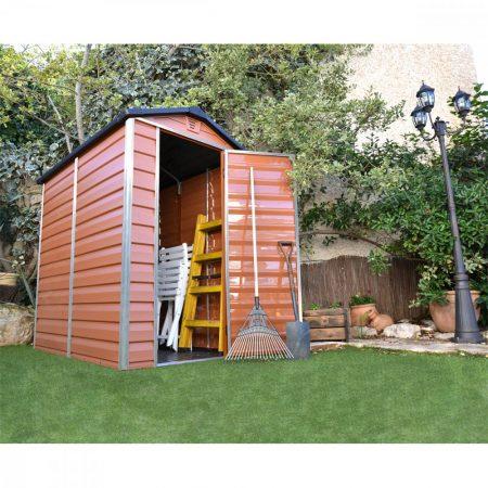 Kerti ház, Szerszámtároló, padlózattal, 177x122 cm, polikarbonát, Palram Skylight 4x6, barna, 10 év GARANCIA!