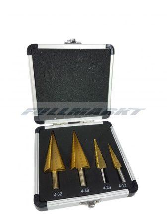 Kúpos lemezfúró készlet 4 db-os HSS, 4-12, 4-20, 4-30, 4-32 mm  Mar-Pol M22320