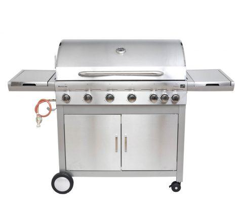 Mexico BBQ Premium line gázgrill, kerti grill, 7 égőfejes, nyomáscsökkentővel